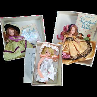 3 Vintage Nancy Ann Dolls w/ Booklets & Boxes Collector's Lot Vintage Doll
