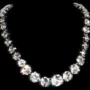 Eisenberg Rhinestone Choker Necklace Large Graduated Stones Designer Signed
