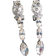Eisenberg Rhinestone  Dangle Earrings Rhodium Plated Clip On Earrings Dangling