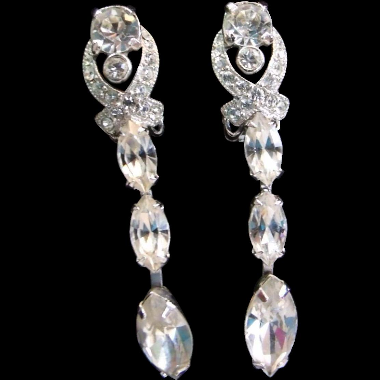 Eisenberg Rhinestone  Dangle Earrings Rhodium Plated Clip On Earrings Dangling