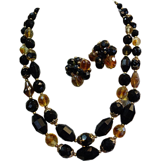 Crown Trifari 1950's Faceted Art Glass Bead Necklace & Earrings Demi Set in Clear, Amber and Black Gorgeous! Designer Signed