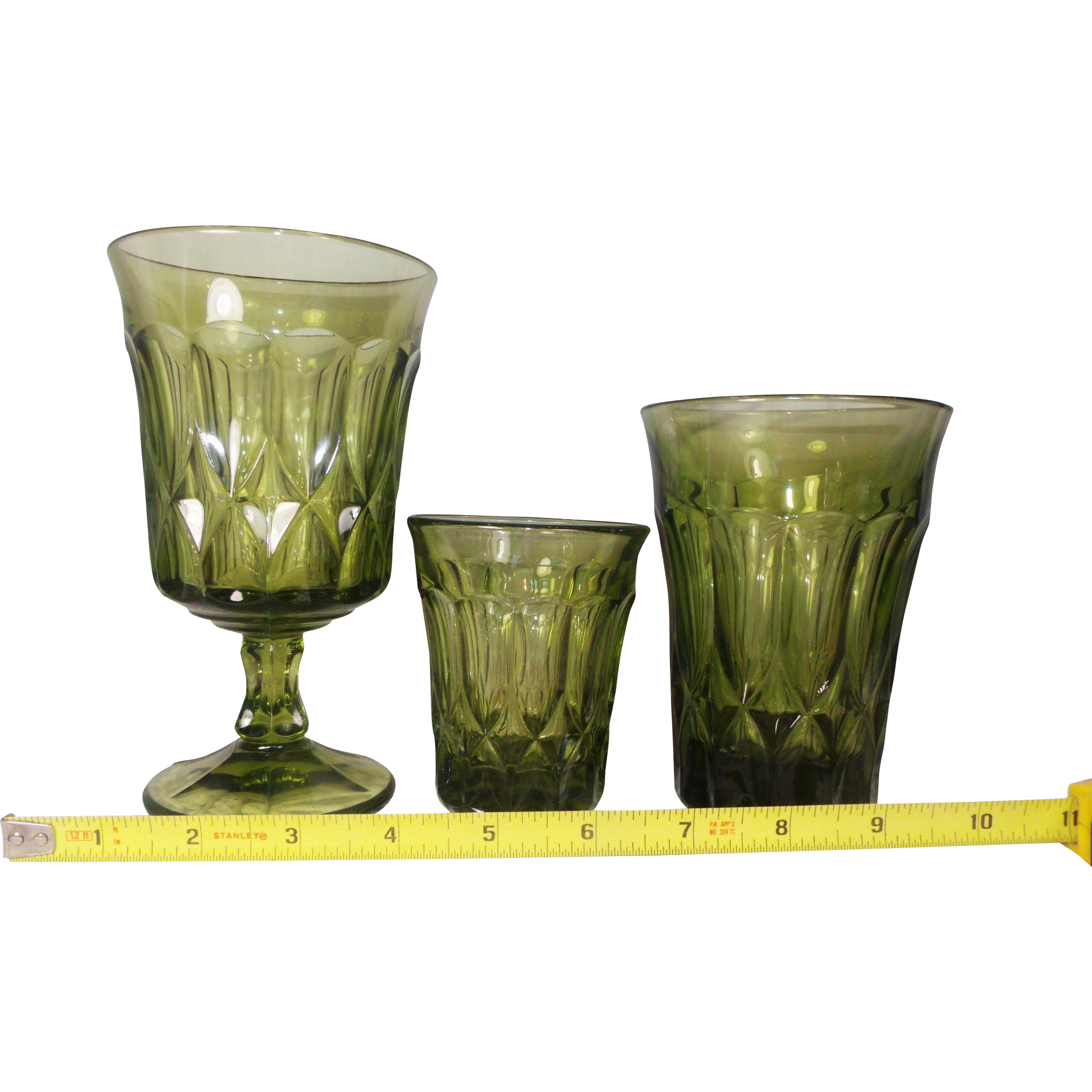 Set of 36 / 12 Each of 3 sizes Vintage NORITAKE Green Footed PERSPECTIVE Iced Tea Goblet 10 oz Flat Tumblers and Juice Glass