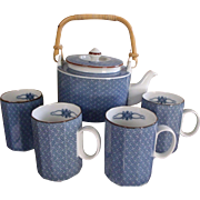 Scarce Ajiro Fitz and Floyd Tea Set / Hot Chocolate Set - Pot & 4 Mugs - Blue & White Fine China 1977 MCMLXXVII SET