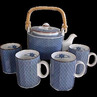Scarce Ajiro Fitz and Floyd Tea Set / Hot Chocolate Set - Pot & 4 Mugs - Blue & White Fine China 1977 MCMLXXVII SET
