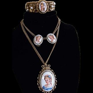 Vintage Florenza Set with Hand Painted Limoges France Portraits - Necklace, Earrings & Bracelet Demi Parure - Ornate Gold plated, Faux Pearl Accents
