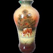 Robert Hanke Porcelain Vase Hand Painted Rural Scene Cow
