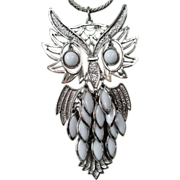 Huge Retro Articulated Fringed Owl Pendant Necklace WOW