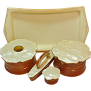 Pending for flygirrl52 Pearlized & Caramel Color Celluloid Dresser / Vanity Set