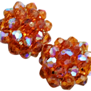 Amber Faceted Glass Bead Cluster Clip Earrings by Laguna Aurora Borealis
