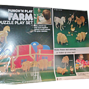 1982 Punch'n Place Punch out Wood Farm Play set Vintage farm animals/barn crafts set