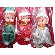 3 New Old Stock Shiny Brite Adorable Expressions Knee Hugger Christmas Elves Ornaments elf shelf