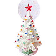 Ceramic Christmas Tree Lamp Sparkling Snow white with Bird Ornaments 18""