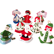 8 Vintage Hand Sewn/Crafted Cone Christmas Characters/Figures Ornament