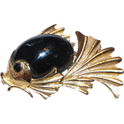 Numbered Boucher Jelly Belly Fish Pin Black Stone / Gold Tone Designer Brooch