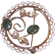 Signed 12K GF Gold Filled Filigree Green Nephrite Jade Brooch w/ Cultured Pearls Pin