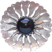 Designer Signed Silver tone and Black Stylized Sunburst Modernistic Brooch / Pin