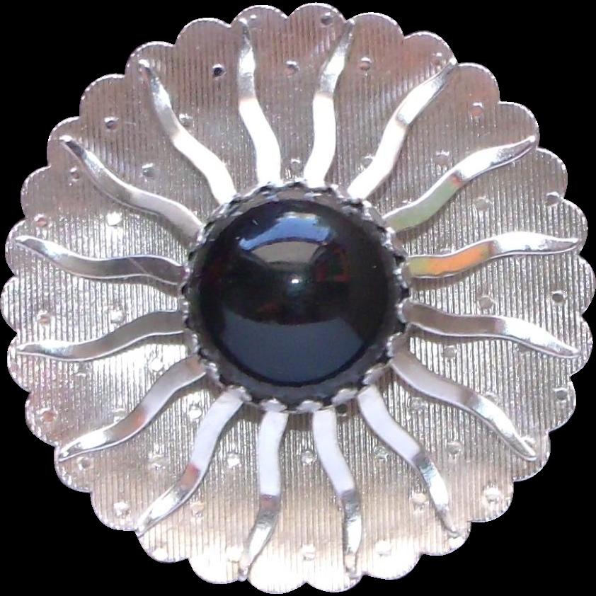 Designer Signed Silver tone and Black Stylized Sunburst Modernistic Brooch / Pin