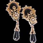 Ornate Goldtone & Black Rhinestone Dangle Show Stopper Earrings Clip - on