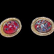 Red Art Glass Accessocraft N.Y.C. Earrings Screw type clip on Multicolor goldtone