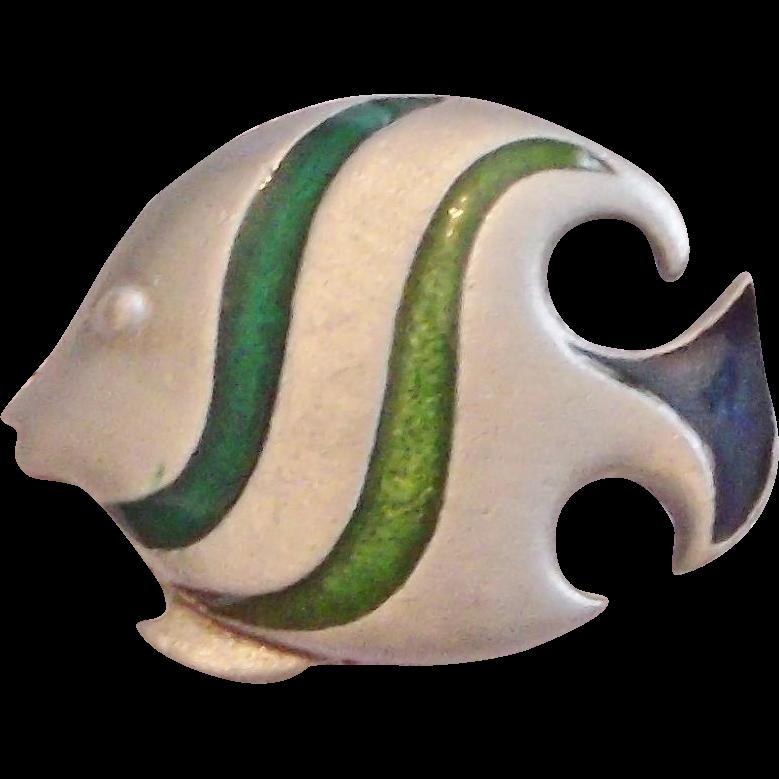 L Razza Green Enamel Pewter Look Angel Fish Brooch Pin