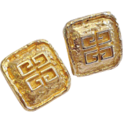Givenchy Gold Plated Textured Square Logo Clip-on Earrings