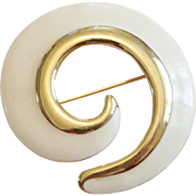 Vintage Monet Gold-Tone and Cream Enamel Swirl Brooch