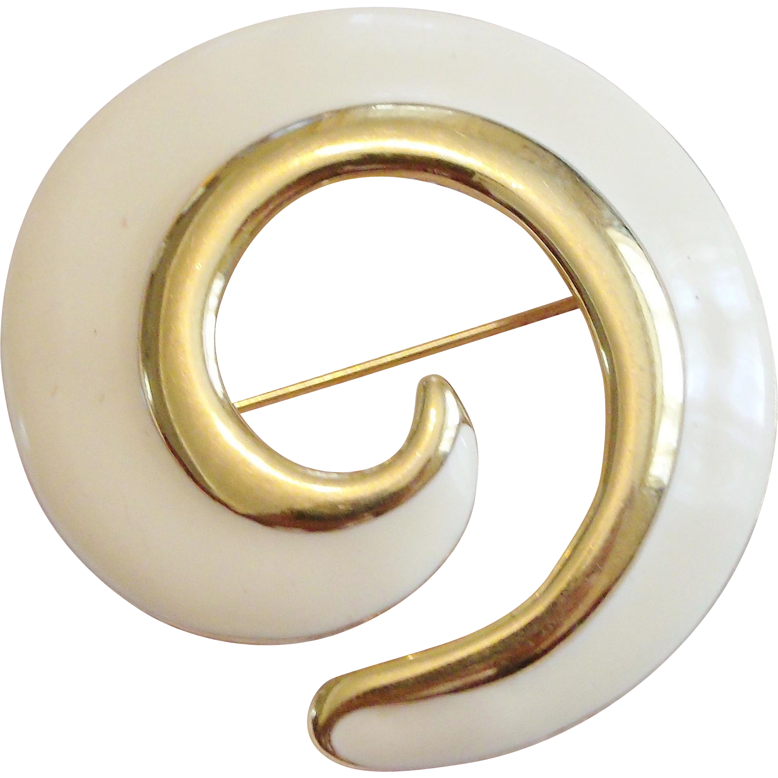 Vintage Monet Gold-Tone and Cream Enamel Swirl Brooch