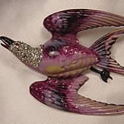 Vintage Coro Bird Enamel & Rhinestone Signed Brooch!