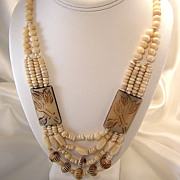 Vintage African Tribal Bone Necklace