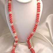 Lovely Vintage Angel Skin Coral & Sponge Coral Bead Necklace