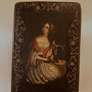 French 19th Century Handpainted Lacquer Snuff Box w/Inlaid Silver