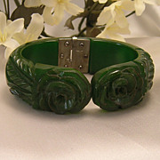 Fabulous Forest Green, Deeply Carved Bakelite Bracelet / Clamper