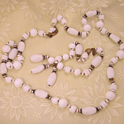 Signed Vintage Miriam Haskell Art Glass Necklace & Bracelet