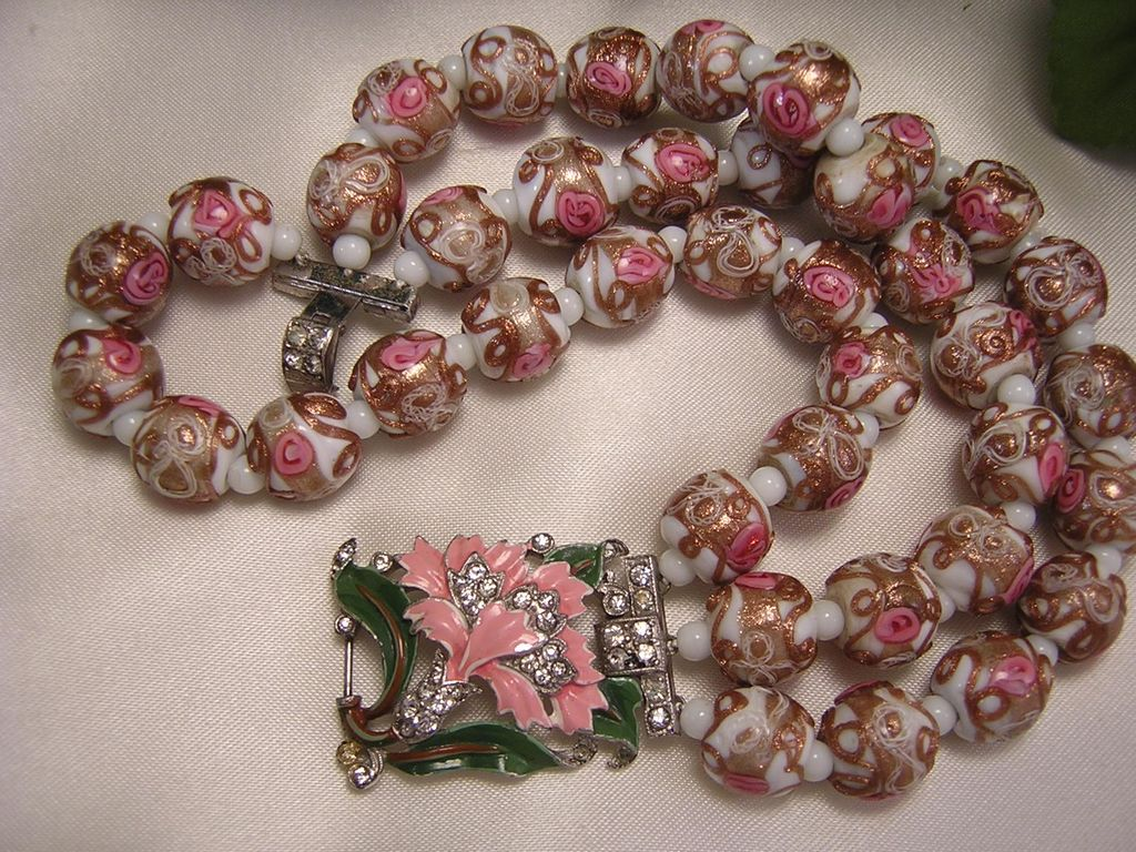 Venetian Murano Wedding Cake Art Glass Bead Bracelet