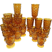 Vintage Amber Indiana Whitehall Cubic Glasses