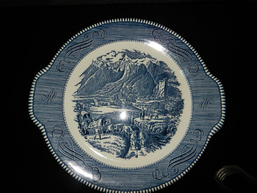 Vintage Currier and Ives Royal China Rocky Mountain Tab Handle Cake Plate