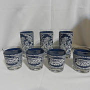 Vintage Currier and Ives Old Fashion and Tumbler Glasses