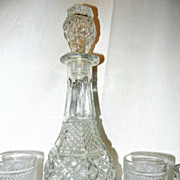 Vintage Anchor Hocking Wexford Wine Decanter & Glass Set