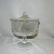Vintage Art Deco Pressed Glass Compote or Candy Jar