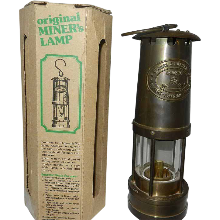 Carbide miners lamp garden view landscape vintage e thomas and williams brass miners lamp sold on aloadofball Choice Image