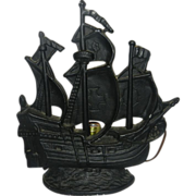 Vintage Cast Brass Metal Figural Pirate Ship Table Lamp