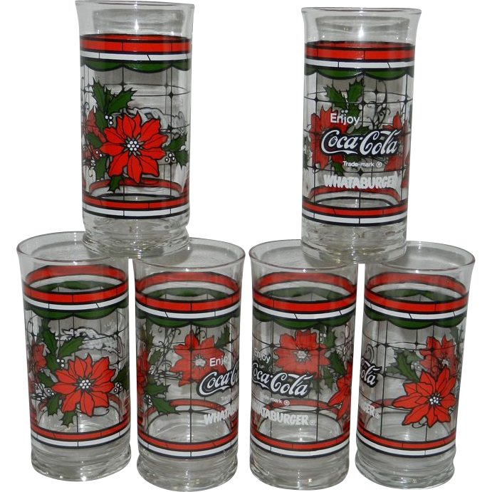 Vintage Coca Cola Whataburger Christmas Glasses From
