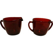 Vintage Anchor Hocking Royal Ruby Red Sugar and Creamer