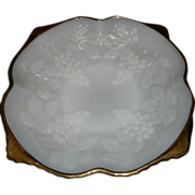 Vintage Anchor Hocking Grape and Cable Milk Glass Footed Bowl