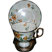 Ucagco China Iridescent Tea Cup and Saucer - August Orange & Green Poppy Flowers