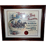 Detroit Firemen's Fund Association Membership Certificate-Circa 1950's