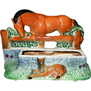 Vintage Cameron Clay Horse and Foal Planter