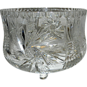 Vintage Leaded Crystal Footed Bowl with Pinwheel and Sheave Pattern
