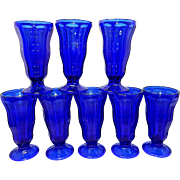 Vintage Anchor Hocking Cobalt Blue Ice Cream Parfait Sundae Soda Glasses