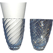 Vintage Swirled Crystal Cut Glass Vases